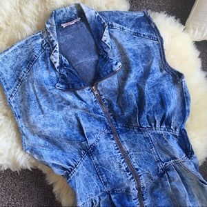 Vintage 80s Acid Wash Denim Dress Zipper Front